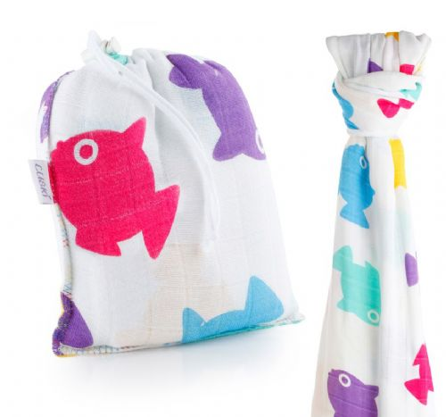 Cuski Great Swandoodle -Bamboo Muslin Blanket Lucky Fish